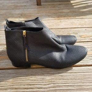 Cole Haan Grand Os Black Leather Snake Booties 9.5